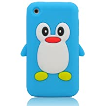 3d Penguin Soft Silicone Rubber Skin Case Cover for Apple Iphone 3g 3gs (Light Blue)