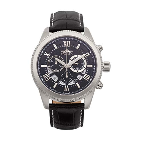 - Balmer E-Type Chronograph Mens Watch - Silver Dial, Black Croco Leather Strap, IPRG Plated Black Rose Gold