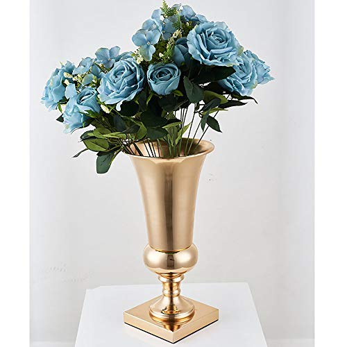 Neekor Wedding Table Centerpieces Vase, Decorative Iron Large Stunning Flower Vase Urn Silver/Gold Finish Trumpet Floral Vase for Home Decor, Height: 15.7inch (Gold) - Iron Metal Urn