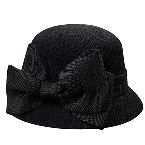 (Women Wide Brim Straw Hat Unique Windproof Strap Design Fashionable Big Bowknot Decorative Beach Sun Hat Black)