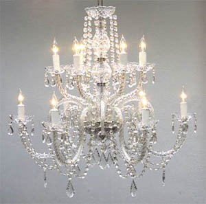 Christmas Tablescape Decor - Elegant and affordable two tier crystal chandelier lighting fixture with hanging tear drop crystals, draping crystal bead stands and scalloped bobaches by The Gallery