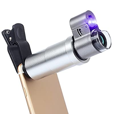 Apexel 200x Zoom Microscope Magnifier Macro Lens with LED + UV Light for iPhone X/8/7/6/6s Plus Samsung Galaxy S8/S7 Plus HTC Google Andriod Phone Tablets