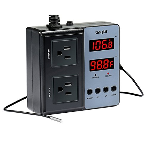 bayite Temperature Controller BTC201 Pre-Wired Digital Outlet Thermostat, 2 Stage Heating and Cooling Mode, 110V - 240V 10A ()