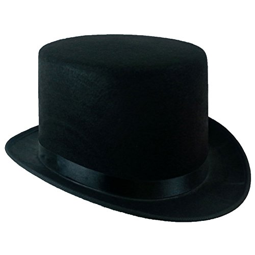 5 Inch Black Felt Top Hat - Gentleman's Felt 5 Inch Top Hat by Funny Party Hats, Avg Adult Head -
