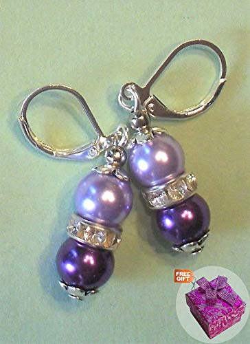 Violet Lavender Glass Pearl Earring Sp Leverback Handcrafted Rhinestone Earrings For Women Set + Gift Box For Free