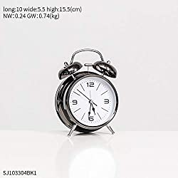 Wall Clock Alarm Clock Metal Modern Pointer Clock Double Ringing Desk Bedside Student Table Clock Home Decoration Wall Clock