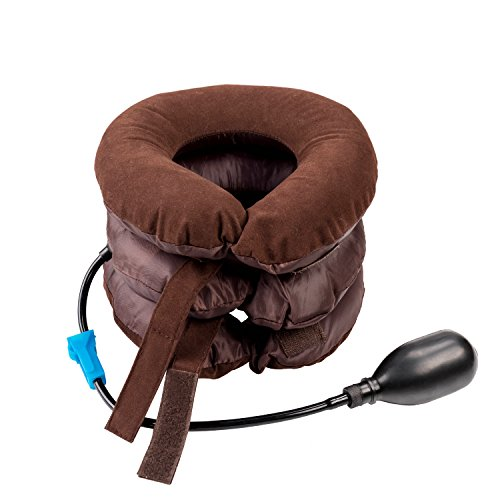 Price comparison product image Cervical Neck Traction Device KepooMan Neck Cervical Traction Collar Device For Chronic Neck & Shoulder Pain Neck Spine Alignment Pillow, Brown