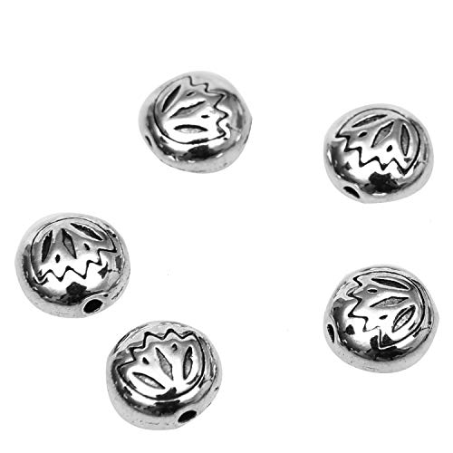 Monrocco 100 PCS Antique Silver Lotus Flower Metal Beads - 8x7mm Flat Round Spacer Loose Beads for Jewelry Making, Bracelets, Necklaces, Key Chains (Silver 7mm Plain Round Beads)