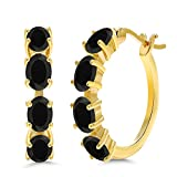 3.12 Ct Oval Black Onyx 18K Yellow Gold Plated Silver Hoop Earrings