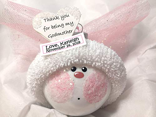 Godmother Gift Angel Christmas Glass Ornament White Heart Verse Thank You Hand Painted Handmade Personalized
