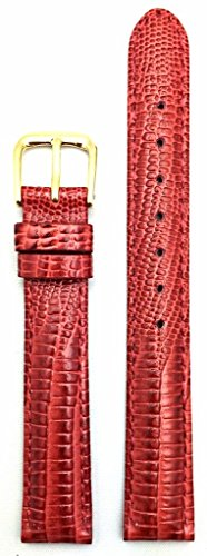 14mm Red Genuine Leather Watch Band | Teju Lizard Grained, Lightly Padded Replacement Wrist Strap That Brings New Life to Any Watch (Womens Standard Length)