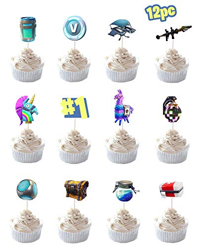 Party Hive 12pc Fortnite Cupcake Toppers for Birthday Party Event Decor by Party Hive