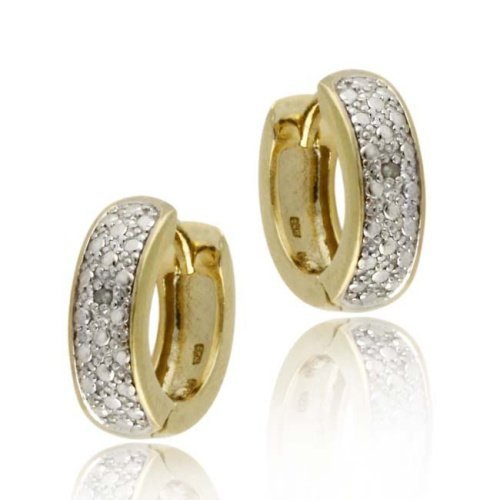 Gold Tone over Sterling Silver Diamond Accent Huggies Hoop Earrings