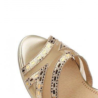 LvYuan Tacón Stiletto-Confort Innovador-Sandalias-Boda Oficina y Trabajo Vestido Informal Fiesta y Noche-Sintético Cuero Patentado Semicuero- Silver