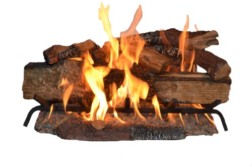 Glow Oak Log - Sure Heat CS30DBNG Sure Heat Country Split Oak Dual Burner Vented Gas Log Set, 30-Inch, Natural Gas