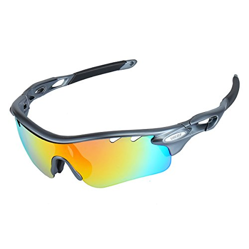 OBERLY S01 Polarized Sports Sunglasses with 4 Interchangeable Lenses for Men Women Cycling Baseball Golf Fishing Driving - How To Lenses Sunglass Change