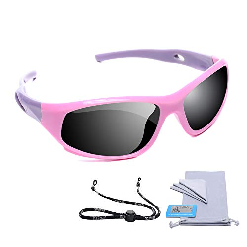 AODUOKE Sports Polarized Kids Sunglasses For Boys Girls Children Youth Sunglasses With Strap (Pink&Purple | Grey ()