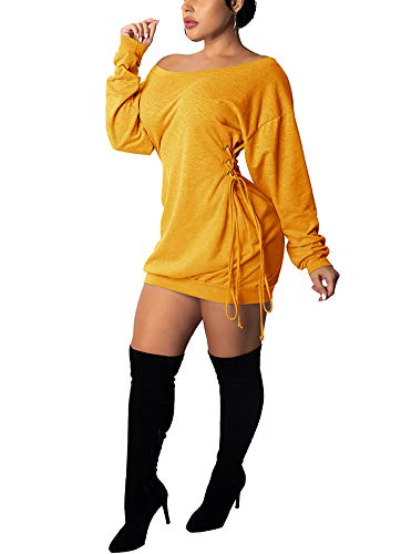 Deloreva Women Long Sweatshirt Dress - Off The Shoulder Tunic Top Oversized Loose Fit T Shirt Mini Dress Yellow XL