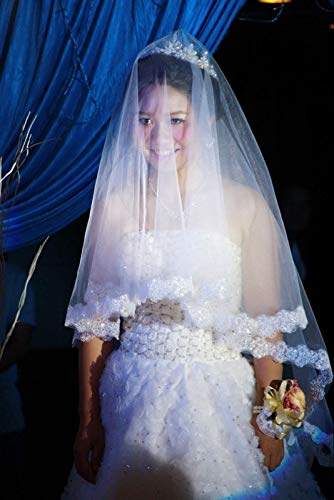 LoLa Ling Dons Bridal Cathedral Wedding Veil Accessories 1M-5 M Meter Voile Mariage Vail Velos Lace Cotton Bride Veils 2016