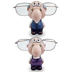 Ikee Design Old Gentleman & Old Lady Figurine Eyeglass Holder Stand (Set Of 2)