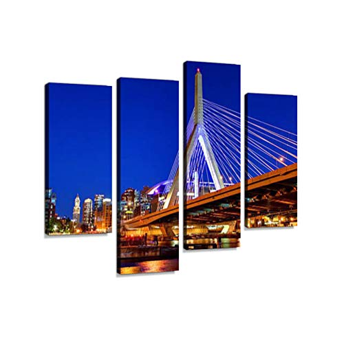 Zakim Bridge and The Boston Skyline Canvas Wall Art Hanging Paintings Modern Artwork Abstract Picture Prints Home Decoration Gift Unique Designed Framed 4 Panel