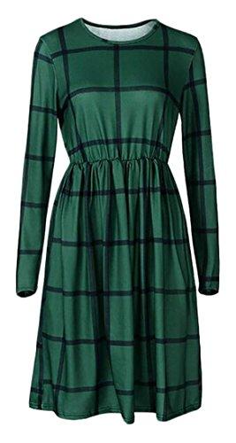 Donne Cruiize Manica Casuale Verde Lunga Il Girocollo Vestito Controllato Pieghe Plaid dqqA7H