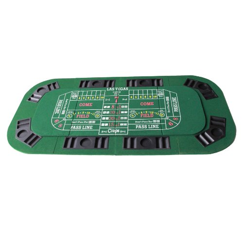 3-1 Folding Poker & Casino Table Top Blackjack & Craps (Green) by IDS Home