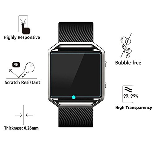 (3 PACK) KAMII Screen Protector Compatible with Fitbit Blaze, [Tempered Glass] [Anti-Scratch] [Bubble Free] Shatterproof Ultra Thin HD Clear 9H Hardness Anti-Scratch Easy Installation Screen Protector by KAMII (Image #1)