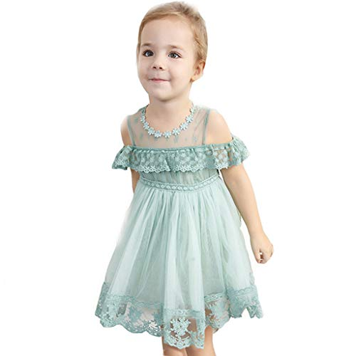 G-Real 2019 New Off Shoulder Lace Floral Ruffles Princess Performance Formal Dress Clothes for Toddler Baby Girls Mint Green ()