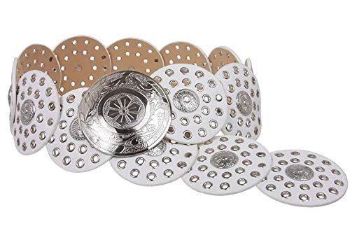 MONIQUE Women Shining Silver Versatile Boho Disc Concho Leather Link 90mm Belt,White L - 45 END-TO-END ()