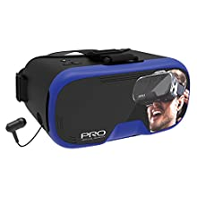 Tzumi Dream Vision Prp Virtual Reality Headset,Built-in Control Pad&Retracteable Ear Buds with Mic for phone Calls,fits all phones up to 6 inch, 360 Video Capability, Works with all VR app Blue