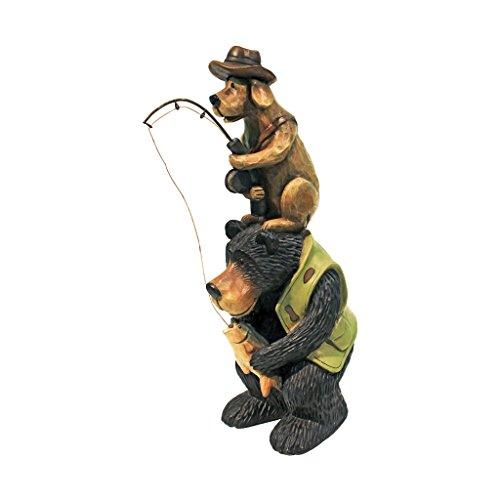 Design Toscano Fishing Buddies Black Bear and Dog Statue
