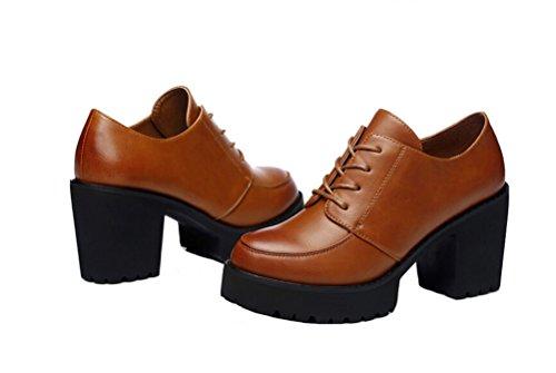 Le Donne Di Nuovo Stile Di Moda Tacco Grosso Scarpe Derby Eleganti Scarpe Basse Piattaforma Inferiore Kaki