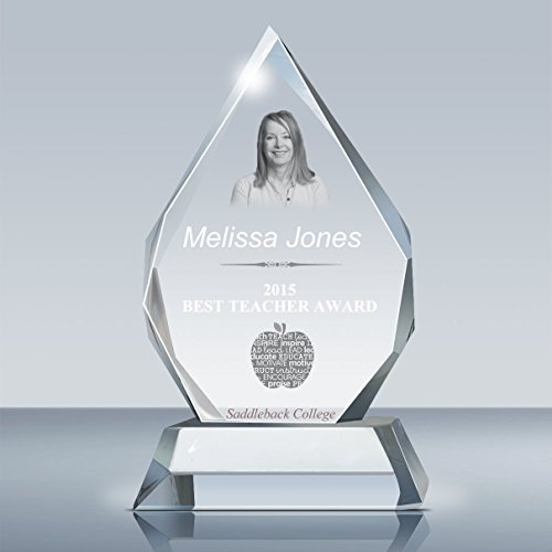 Beveled Edge Crystal Award - Photo Crystal Majestic Award & Plaque for Employee, Pastor, Teacher, Alumini, Police, and Military Award, Laser Etching Custom Picture & Text in Glass by Goodcount