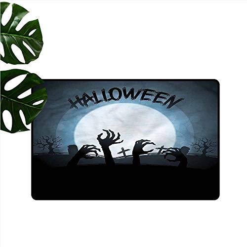 DUCKIL Fashion Door mat Halloween Zombie Hands Out Grave Quick and Easy to Clean W35 xL47