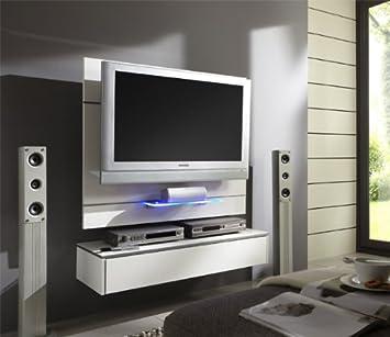 TV Wand Wandpaneel TV-Halterung mit Lowboard weiss Hochglanz: Amazon ...