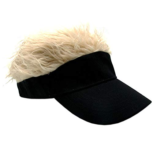 Flair Hair Visor Sun Cap Wig Peaked Adjustable Baseball Hat with Spiked Hairs (Black Gold)
