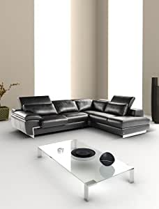 J&M Furniture Oregon-2 Full Black Italian Leather Sectional Sofa With Adjustable Headrests Right Hand Facing