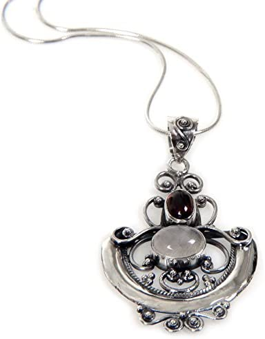 NOVICA Rainbow Moonstone .925 Sterling Silver Pendant Necklace 16.25 Morning Frost