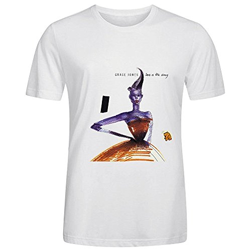 Grace Jones love is the drug Tracks Mens O Neck Screen Printed Shirts White (Life Is Good Yoga Womens Tshirts compare prices)