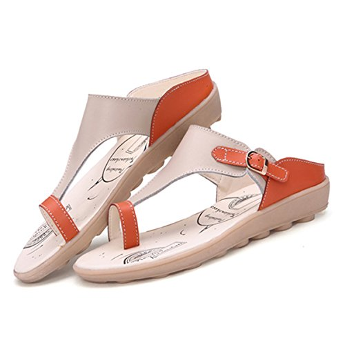 gracosy Women Summer Beach Bath Slippers Casual Sandals Shoes for Ladies Leisure Soft Comfortable Clip Toe Buckle Leather Flat Open Heel Sandals Indoor Outdoor Flip-Flops Orange 31C1KRnC