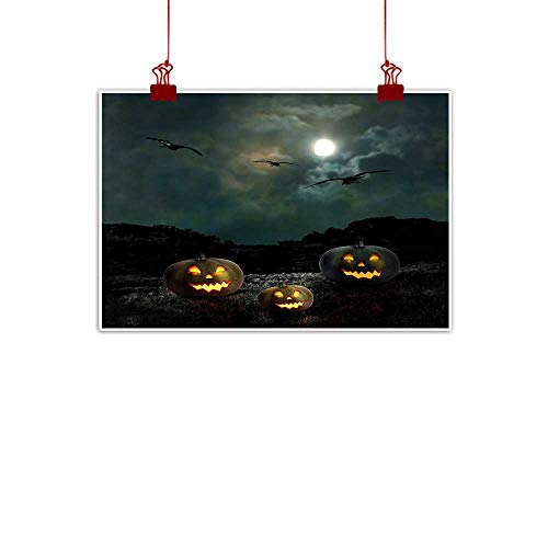 (Sunset glow Simple Life Minimalist Halloween,Yard of an Old House at Night Majestic Moon Sky Creepy Dark Evil Face Pumpkins,Multicolor 24