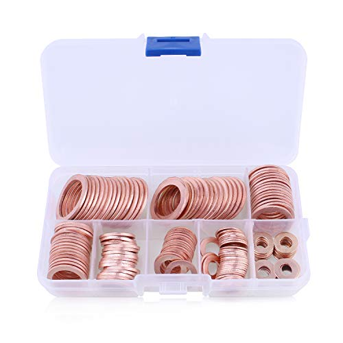Katosca 150 Pack Various Sizes Flat Washer Purple Copper Crush Washers Seal Ring Assortment Set for Car with Plastic Storage Case ()