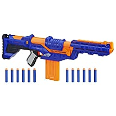 Customize this blaster to defeat the competition! The Nerf N Strike Elite Delta Trooper comes with an attachable stock and barrel extension to modify it for battle ready action. Attach the stock to help stabilize shots. Add the barrel extensi...