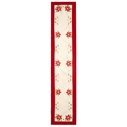mbroidered 14 x 72 in. Table Runner with Red Trim Border ()
