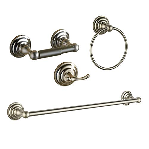 Nickel Bed Set - bgl Wall Mounted 4 Piece Brush Nickel Bathroom Accessory Hardware Set for Bathroom with 24'' Towel Bar