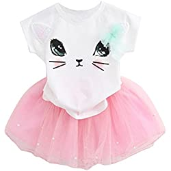 Fedi Apparel Toddler Girls Party Strip Shirt Tutu Dress Cat Top Tulle Skirts Set (2-3 Years(Tag S), Cat white+pink)
