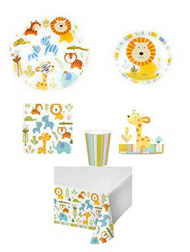 Happi Jungle Themed Party Supplies 6-Piece Bundle, Including Disposable Plates, Napkins, Cups for 8; 1 Table Cloth-Balloon (Jungle Themed Balloons)