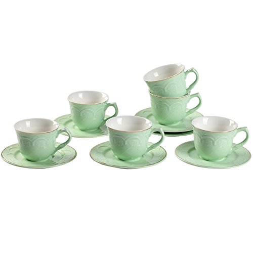 Porcelain Tea Cup Sets 2.8 Ounce Green New Bone China Porcelain Coffee Embossed Floral and Gold Edge Cups with Saucers Set of 6 - Edge Tea Saucer
