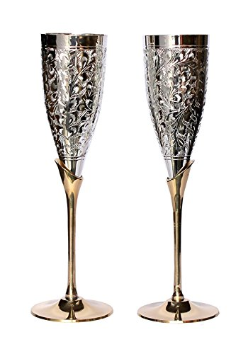 Royal sapphire Set of 2 Silver Plated Brass Wine Goblets with original Red Velvet Box, Silver Plated Brass Champagne Flutes, Engraved Wine cups, Engraved Champagne Flutes, Silver Plated goblets, ()